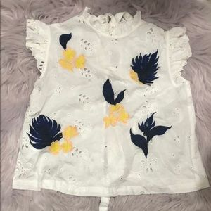 Embroidered Tie Back Top